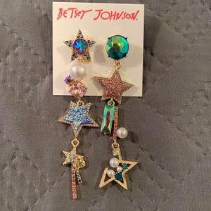 Betsey Johnson Dangling Stars Gem Earrings NWT